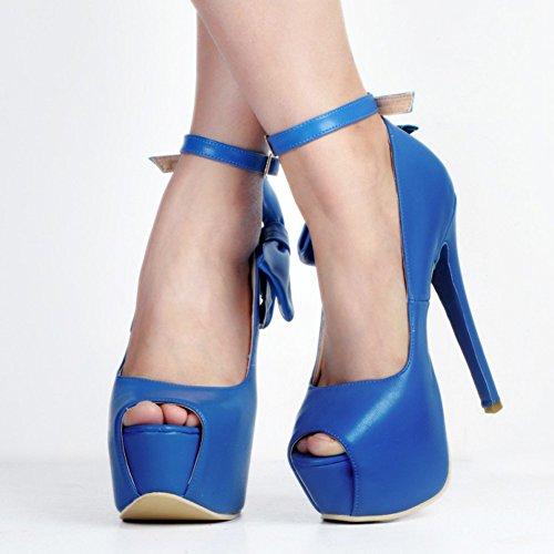 Kolnoo Damen Faschion 15cm Peep-Toe Plattform Riemchensandaletten Stiletto Dame Absatz Schuhe Blue