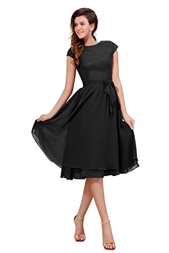 Party Cap Dress Mother Bridal Knee Length Women's Black Sleeve The Bess Bride of PvEqP