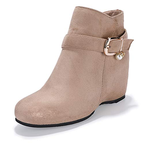 IDIFU Women's Candice-Pearl Buckle Strap Round Toe Short Boots Hidden Medium Wedge Heel Side Zipper Ankle Booties (Apricot Suede, 8.5 M ()