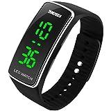WUTONYU (TM) Men's and Women LED Luminous Wristwatches Calendar Sports Digital Watch (Black+Silver)