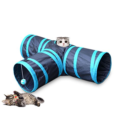 Cat Play Tunnel Collapsible 3 Way Cat Tube Toy Pet Play Tunnel Toy for Rabbits and Small Dogs by Thmyo