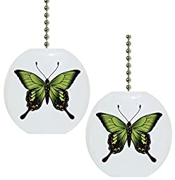 Set of 2 Bright Green Butterfly Butterflies Solid Ceramic Fan Pulls