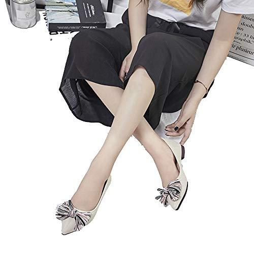 AIMENGA Plano Fondo Calzado Afilado Beige Mujer Planos Zapatos Zapatos Bow Superficial Regazo Nuevo De qrxtETqw