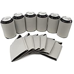 TahoeBay 12 Can Sleeves - Silver Beer Coolies for Cans and Bottles - Bulk Blank Drink Coolers – DIY Custom Wedding Favor, Funny Party Gift (Silver, 12)