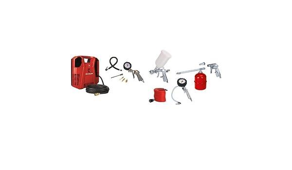 + Kit de aire comprimido met/álico, 5 piezas, 1.7 kg Einhell TH-AC 190 Kit color rojo y blanco 1,1 kW, rendimiento de aspiraci/ón: 190 l//min, 8 bar, 1 cilindro, incluye accesorios, funciona sin aceite Compresor