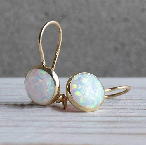 14k solid yellow gold white opal dangle earrings