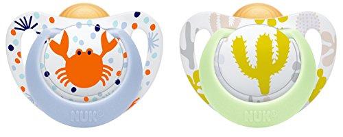 NUK 10171090 Genius Color Latex-Schnuller, kiefergerechte, zahnfreundlich, 0-6 Monate, BPA frei, 2 Stück, Boy