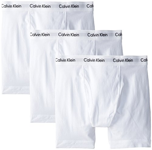 Calvin Klein Men's Cotton Stretch 3 Pack Boxer Briefs, White, Small