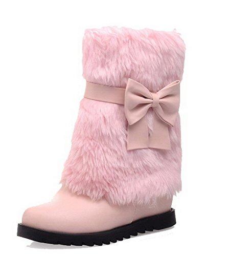 VogueZone009 Damen Mittler Absatz PU Rein Ziehen auf Rund Zehe Stiefel Pink