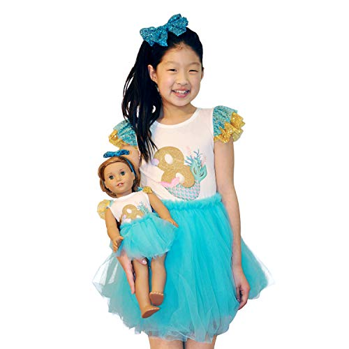 ZITA ELEMENT Girl Matching Doll Clothes Outfits - 2 Sets Clothes and Hair Accessories for American 18 Inch Girl Doll and Girls - 2 Shirts Jumpsuits, 2 Tutu and 2 Sequin Bowknot Hairbands (Customized American Girl Doll)