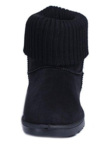 Zapatos Botines Mujer Shoes Tejido Negro de Invierno Clásicas Punto Nieve AgeeMi Bota g4xaw8
