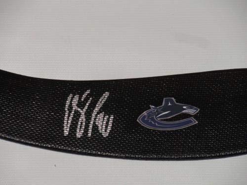 Elias Pettersson Signed Hockey Stick Vancouver Canucks Autographed Proof Autographed NHL Sticks