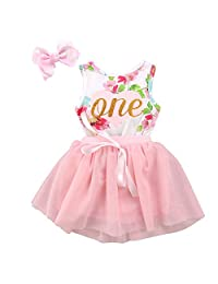 traderplus Baby Girls' Tutu Dress Floral Romper Lace Skirt Clothes with Hair Bows Set