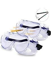 Safety Goggles, Protective Safety Glasses, Soft Crystal Clear Eye Protection Clear Lens Wide-Vision Adjustable Eyewear Perfect for Construction, Shooting, Lab Work (2 Pack)