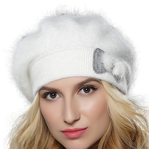 (Tomorrow Apariencia Women's Winter Angora Wool Knit Beret Hat with Mink Rhinestone Bowknot (One Size,)