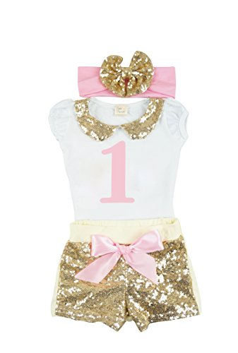 PoshPeanut Baby Girl 1st Birthday Sequin Shorts Outfit with Bow Headband (6 - 12 - Shipping Is Long Priority How Usps