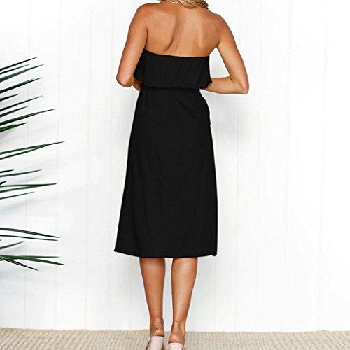 Robe Longue Plage Bardot L'Paule Femmes Robe Robe De Noir Volants Les Ceintur VolantE Boutonnent D'T Dames Trydoit n46ZXq4