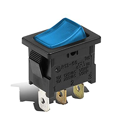 Replacement for 12V 16A Car Auto Blue LED Light Toggle Mini Rocker Switch 3Pin SPST ON/OFF 2 Position Black/Blue: Automotive
