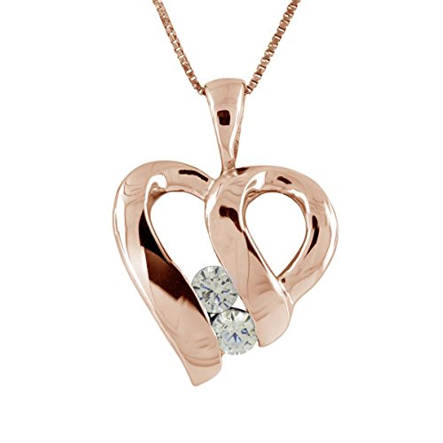 10k Gold 18' Chain - 0.15Ct Ttw Two Stone Diamond Heart Pendant In 10K Rose Gold With 18'' Chain