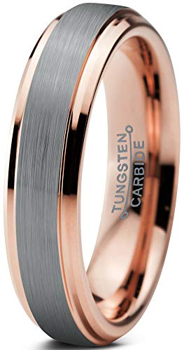 Charming Jewelers Tungsten Wedding Band Ring 4mm Men Women Comfort Fit 18k Rose Gold Grey Step Bevel Edge Brushed Polished Size 7.5