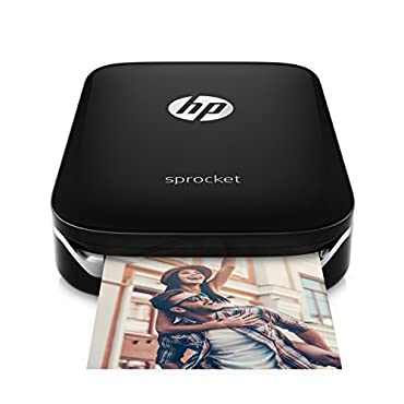 HP Sprocket Portable Photo Printer, print social media photos on 2x3 sticky-backed paper black (X7N08A)
