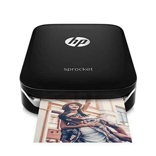 : HP Sprocket Portable Photo Printer, print social media photos on 2x3 sticky-backed paper - black (X7N08A)