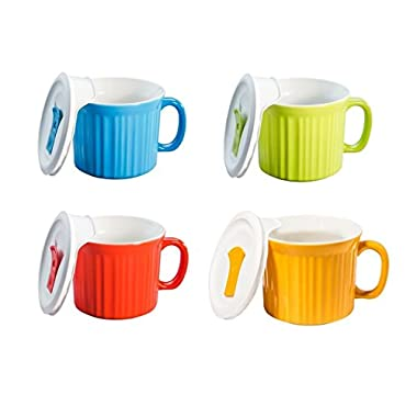 CorningWare Pop in mug, 4 mugs with vented plastic covers (Bake, Microwave) 20 oz/591ml (Multicolored)