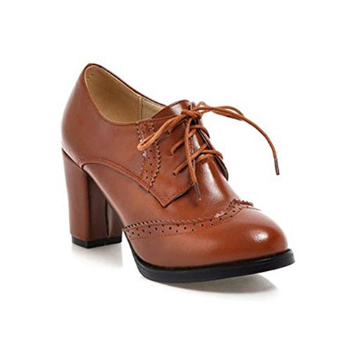 GIY Women's Lace Up Platform Oxford Pump Wingtip Perforated Chunky High Heel Vintage Dress Oxfords Shoes Brown