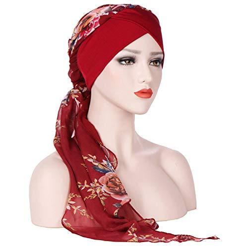Crystal Women India Muslim Stretch Turban Printe Hat Cotton Chiffon Head Scarf WrapGifts ()