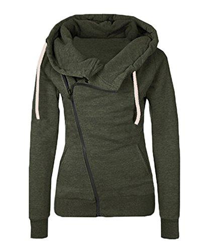 Fashion Solid Hooded Zipper (Engood Women's Fashion Solid Side Zipper Patchwork Warm Hooded Sweatshirt Jacket Green M)