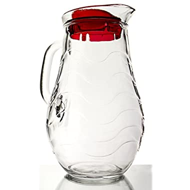 Sea Current Clear Glass Pitcher with Lid, 1.9 Quart