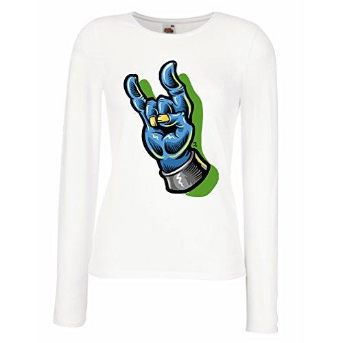 Camisetas de Manga Larga para Mujer Zombie mano A Rock and Roll símbolo, signo de los cuernos, signo de metal Blanco Multicolor