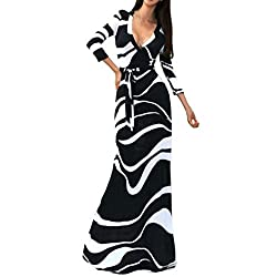 SUNNOW Womens Sexy Ladies Deep V Neck Party Dress Maxi Long Evening Dress