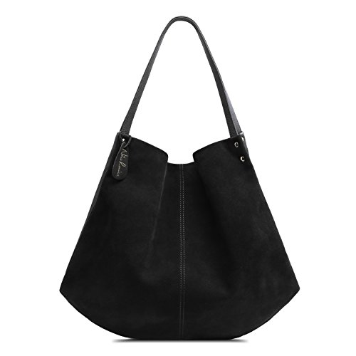 Nico Louise Women Genuine Suede Leather Shoulder Bag Large Purse Travel Tote Bag (Genuine Suede Leather Handbag)