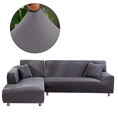 Elastic Polyester Tight Wrap All-inclusive Slip-resistant L Shape Modern Couch Slipcovers Sofa Towel Furniture Protector- 2 Pcs Sofa Slipcover with 2Pcs Pillow Cover for 3 Seat Sofa (Sofa, Dark Grey)