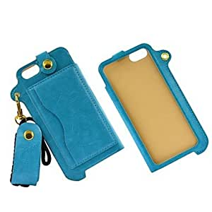 LZX Sky Blue Sling Durable PU Leather Back Cover Case with Stand and Card Slot for iPhone 5/5S
