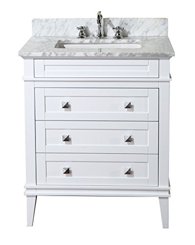 Eleanor 30-inch Bathroom Vanity (Carrara/White): Includes a White Cabinet, Soft Close Drawers, a Natural Italian Carrara Marble Countertop, and a Ceramic Sink - White cabinet with soft-close drawers Authentic Italian Carrara marble countertop. Color & pattern may vary from pictures. High-end furniture-grade construction. Made with 100% solid wood and plywood only! Absolutely no MDF or cheap particle board anywhere in this product. - bathroom-vanities, bathroom-fixtures-hardware, bathroom - 41fQ1mgiNaL -