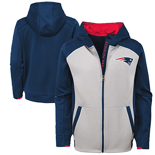 Outerstuff NFL New England Patriots Kids & Youth Boys Hi Tech Performance Full Zip Hoodie, Dark Navy, Youth Small(8) -