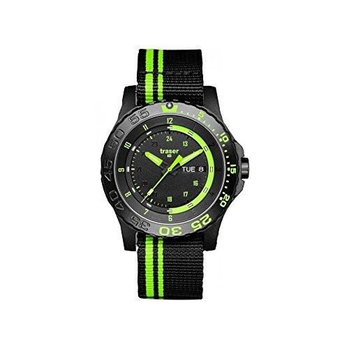 Traser 105542 Swiss H3 Green Spirit Tritium Tactical NATO Strap Band Black Green Watch