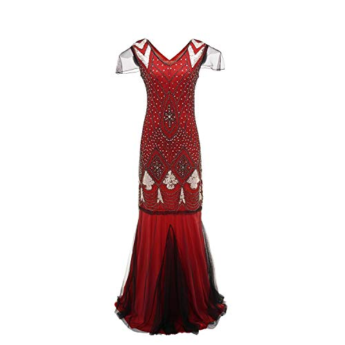 High end Hepburn Style Women Vintage 1920s Bead Fringe Sequin Robe Embellished Party Flapper Gatsby Woman Dres Red ()