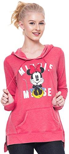 Disney Mickey & Minnie Mouse Hoodie Juniors Pullover Sweatshirt (Red Minnie, (Womens Minnie Mouse Jumper)