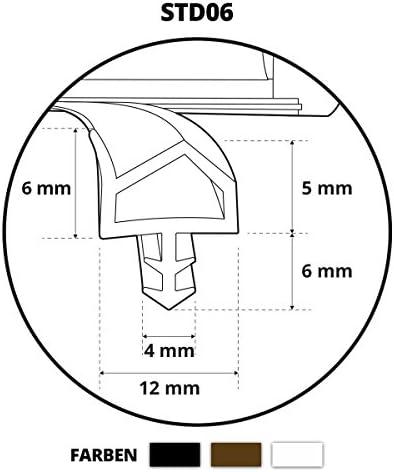Gummidichtung STD06 Türdichtung Dichtung Braun Schwarz Weiß TOP