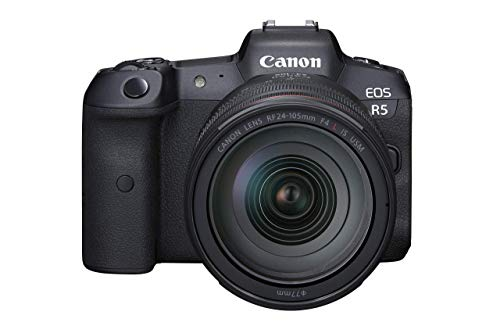 Canon EOS R5 Full Frame Mirrorless Camera + RF 24-105mm F4 L is USM Lens Kit, Black (4147C013) (Renewed)