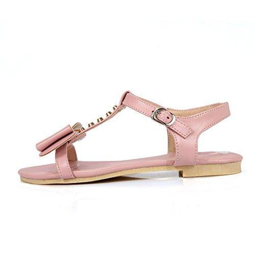 Pink Zapatos Sandalia con Patios encantadores una Plana Grandes de Sandalias Base Sandalias para Mujer con Mujer Pajarita Mujer Verano Estudiantes Pulsera fx5Rp8wq