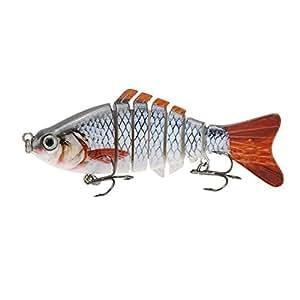 """Lixada 10cm/4"""" 15.5g Bionic Multi Jointed Fishing Lure SUN-FISH Lifelike Hard Bait Bass Yellow Perch Walleye Pike Muskie Roach Trout Swimbait (Style 1)"""