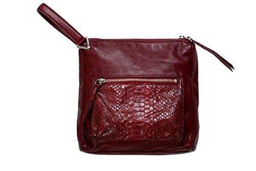 Maison Margiela 11 Women's Burgundy Python & Leather Handbag Wristlet Clutch by Maison Margiela 11