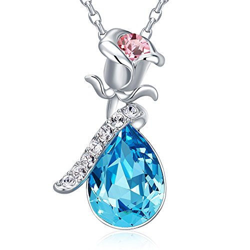 Necklaces,Women's necklaces CDE Blue Swarovski Crystal Flower Pendant Necklaces for Women Girls Girlfriend Jewelry Necklace for Mother's Day Gift Necklace