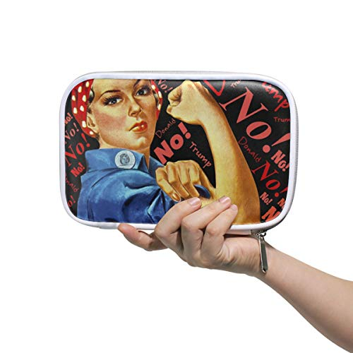 ILEEY Trump No Defiance Liberation Woman Pencil Case Cosmetic Bag Large Capacity Organizer Makeup Clutch Pouch for Travel School