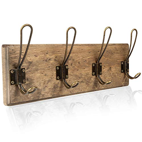 Wall Mounted Coat Rack - Rustic Wooden 4 Hook Coat Hanger Rail, Distressed Wood, Antique Brass Hooks
