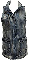 DKNY Jeans Women's Acid Wash Denim Sleeveless Long Vest Jacket (Medium)